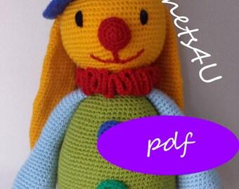 crochet pattern bunny clown, crochet bunny, crochet clown, clown bunny, crocheted clown, crocheted bunny