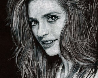 Drawing Print of Stana Katic, who plays Kate Beckett on TV's Castle