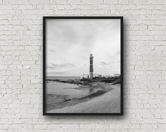 LighthouseBeach Print Digital Download / Fine Art Print/ Wall Art / Home Decor / Black and White Photograph/ Travel Photography
