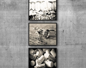 dining room wall art 3 print set, Wine Pictures for kitchen wall art, sepia photography set, wine prints, set of 3 prints kitchen