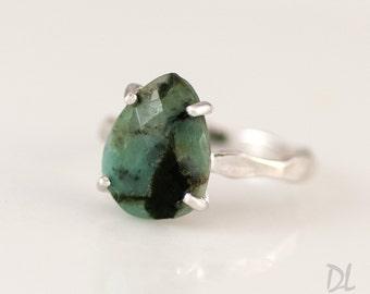 40 0FF - Green Raw Emerald Ring - May Birthstone Ring - Gemstone Ring - Stacking Ring - Silver Ring - Tear Drop Ring - Prong Set Ring