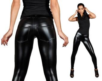 Leather Leggings w. Jeans Back, Black Leggings, Spandex Pants, Burning Man Leggings, Rocker Leggings, Heavy Metal, Wasteland, LENA QUIST
