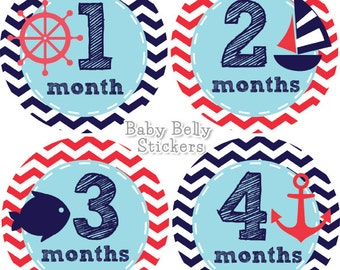 Baby Month Stickers, Monthly Baby Stickers, Monthly Milestone Stickers, Baby Monthly Stickers, Baby Belly Stickers, Nautical