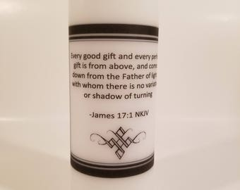 7.5 in Customized Scripture/Inspirational Message Candle