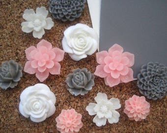Flower Thumbtacks, 12 Pink, White and Gray Push Pins, Bulletin Board Tacks, Pink and White Wedding Decor, Gifts, Housewarming Gift