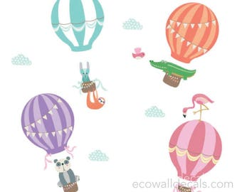 Hot Air Balloon and Animal Wall Decals - Vintage Balloon and Animal Fabric Wall Decals