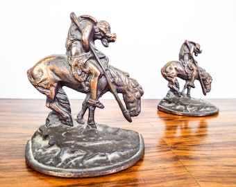 Vintage 1920s Western Indian Horse Bookends End of the Trail after James Fraser