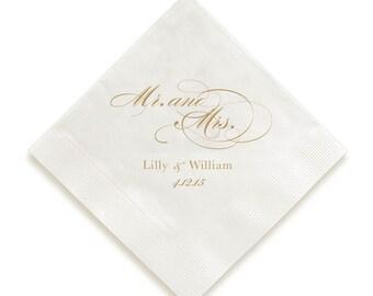 Foil pressed Personalized Napkins, customizable napkins Mr. and Mrs. wedding napkins, letterpress napkins, custom monogram, gold foil