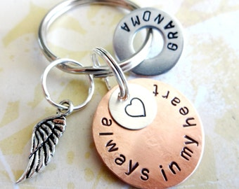 In Memory of Grandma - Memorial Keychain - Loss of Loved One - Personalized Hand Stamped Key Chain with Angel Wing Charm