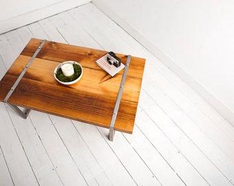 Reclaimed Industrial Coffee Table with Steel Legs