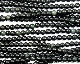 Rainbow Obsidian Beads, Round, 4mm (4.4mm), 16 Inch, Full strand, Approx 90 beads, Hole 0.5 mm, A quality (366054010)