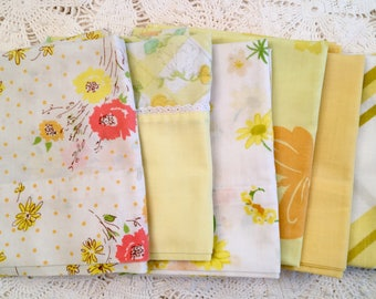 Set of 6 Vintage Pillowcases - Florals - Yellow Mix - 1970s - Standard Size - Edgemont - Sears -Pepperell - Soft