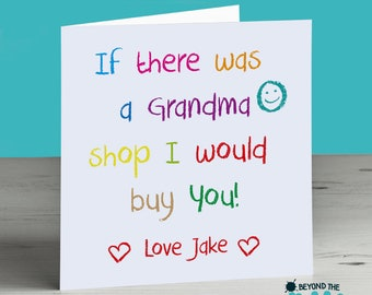 Cute Grandma Mothers Day Card - Card For Granny Nanna - Birthday Card - Personalised