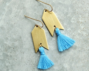 Turquoise Tassel Earrings, Blue and Gold, Natural Brass Tassel Earrings, Arrowhead, Arrow Earrings