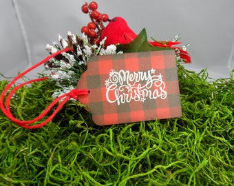 Buffalo Plaid Merry Christmas Tag -- Christmas Gift Tag -- Holiday Tag