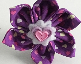 Purple Valentine's Heart Flower for Girl Dog and Cat Collar