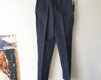 Vintage Mom Jeans, High Waist Dark Wash Denim, 1980's Garey Petites Jeans Size Small