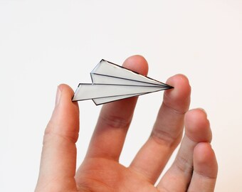 Paper Plane Pin or Magnet