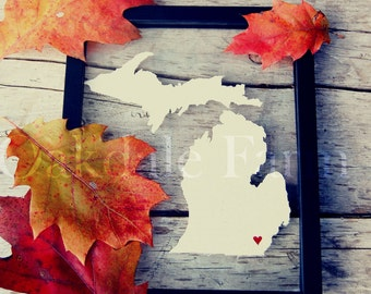 MICHIGAN Map Gift 8x10 Original Framed Canvas Art * LOVE State & City Hand Cut and Painted for Birthday Wedding Engagement Father's Day