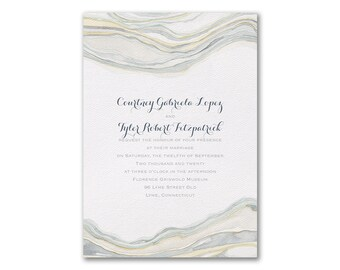 Watercolor Wedding Invitations, White Texture 110 lb Paper, Sandstone Watercolor Design, Flat Printed Wedding Invites With Blank Envelopes