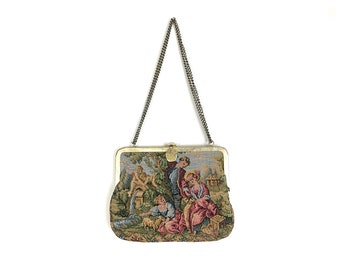 Aiguille de sac, sac à main tapisserie, sac à main des années 1950, sac à main tapisserie à l'aiguille, point de petit sac à main, des années 50 sac à main, sac à main brodé, sac à main vintage, vintage