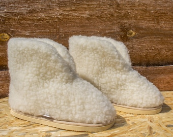 Merino sheep woolen natural slippers, healthful footwear gift. (EVA)