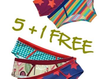 Organic cotton women undies - 5+1 FREE - pick colors and sizes