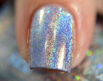 "Nail polish - ""Bring The Light"" light purple/silver linear holographic polish"