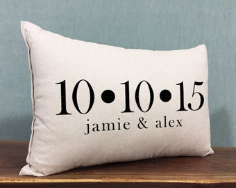 Personalized Wedding Pillow, Custom Names and Wedding Date, Wedding Pillow, Anniversary Gift, Home Accent Pillow, Personalized Gift