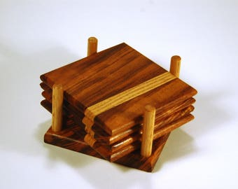 Tigerwood and Oak Coaster Set