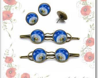 Hair clips + Studs dandelion Jewelryset Sho-C16-004