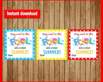 Pool Summer, End of school, Stay Cool, Teacher Gift, Beach, Boy, Girl, Classroom, Diy, Printable, Favor Tag, Tag, Instant Download