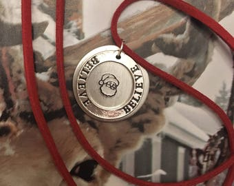 Believe Santa Claus Hand-Stamped Necklace