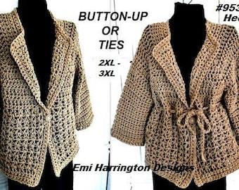 Crochet PATTERN, Sweater, Jacket, Women's XXLto XXXL plus size, (48 - 60 inch chest), #953XXX, women's clothing, crochet for women and teens