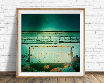 """retro wall art, masculine wall art, masculine decor, square wall art, instant download printable art, large art, large wall art-""""Rusty Blue"""""""