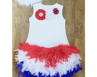 Red, White and Blue Feather Dress, 4th of July Pageant, 4th of July Parade Dress, 4th of July Dress, 4th of July Outfit, Miss America Dress