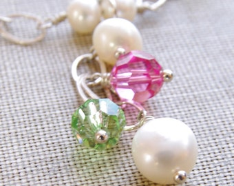 Swarovski Crystal Necklace Pearl Jewelry Sterling Silver Beaded Y Necklace Pink Green Crystal Jewelry White Freshwater Pearl Jewelry