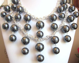 "2 Broke Girls Necklace - The ""Silver Caroline"" in Smoke Black- Inspired by the 2 Broke Girls TV Show, includes Earrings"