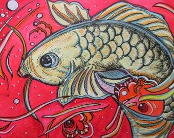 Watercolour pink fish print