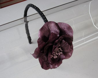 Plum Flower with Black Beaded Trim Headband, for weddings, parties, night out, evening, festive, special occasions