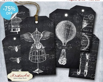 75% OFF SALE BW World Tags - Digital Collage Sheet Digital Tags T004 Printable Download Image Tags Digital Image Black&White tags