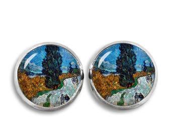 Van Gogh Stud Earrings Country road in Provence Earrings 12 mm Painting Earrings Art Jewelry
