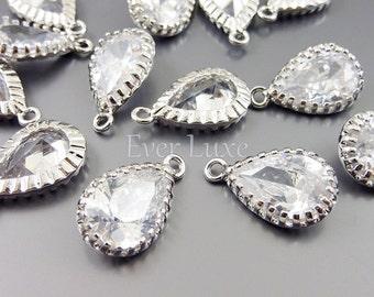 2 clear CZ cubic zirconia crystal teardrop charms, CZ pendants, wedding jewelry supplies 1821R-Cl