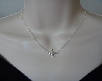 Bird Necklace, Sterling silver swallow necklace, silver bird necklace, bird pendant, bird charm, swallow necklace silver