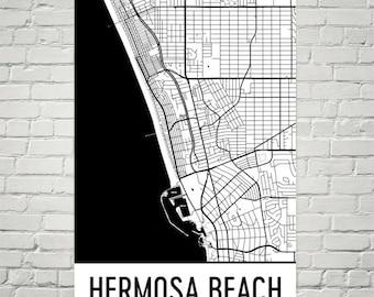 Hermosa Beach CA Map, Hermosa Beach Art, Hermosa Beach Print, Hermosa Beach California Poster, Wall Art, Map of California, Decor