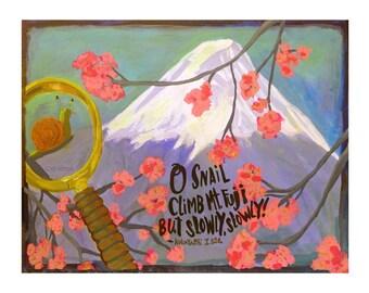 Snail climbing Mount Fuji ... Illustrated Haiku giclée print ... you choose the paper size ... persistence • inspirational • Kobayashi Issa