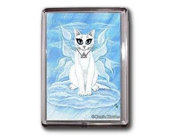 Fairy Cat Magnet Elemental Air Elements White Cat Fantasy Cat Art Framed Magnet Cat Lovers Gifts