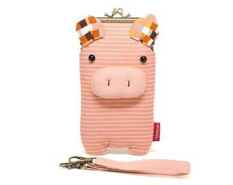 Verwirrt Rosa Schweinchen Smartphone Kosmetikbeutel sleeve