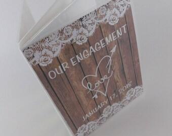 Engagement photo album PRINTED NOT REAL wood personalized bridal Shower gift rustic wedding photo album custom book 4x6 or 5x7 album 375