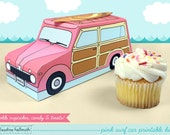 pink woody surf car -  cupcake box holds cookies and treats, gift and favor box, party centerpiece printable PDF kit - INSTANT download